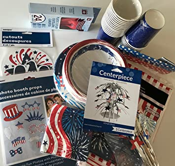 Patriotic Decorator 4th of July Fireworks Party Bundled - 152 Piece Ultimate Party Supplies Kit