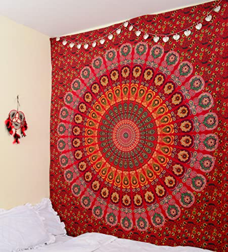 RawyalCrafts- Red Peacock Mandala Tapestries, Hippie Wall Hanging Tapestries, Throw Bedspread, Hippie Wall Tapestry, Handicrunch Dorm Decor