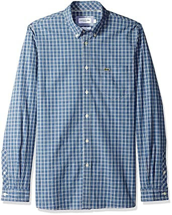 c276e898edd4d1 Lacoste Men s Long Sleeve Slim Fit Checkered Stretch Poplin at ...