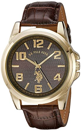 U.S. Polo Assn. Classic Mens USC50167 Gold-Tone Watch with Brown Band