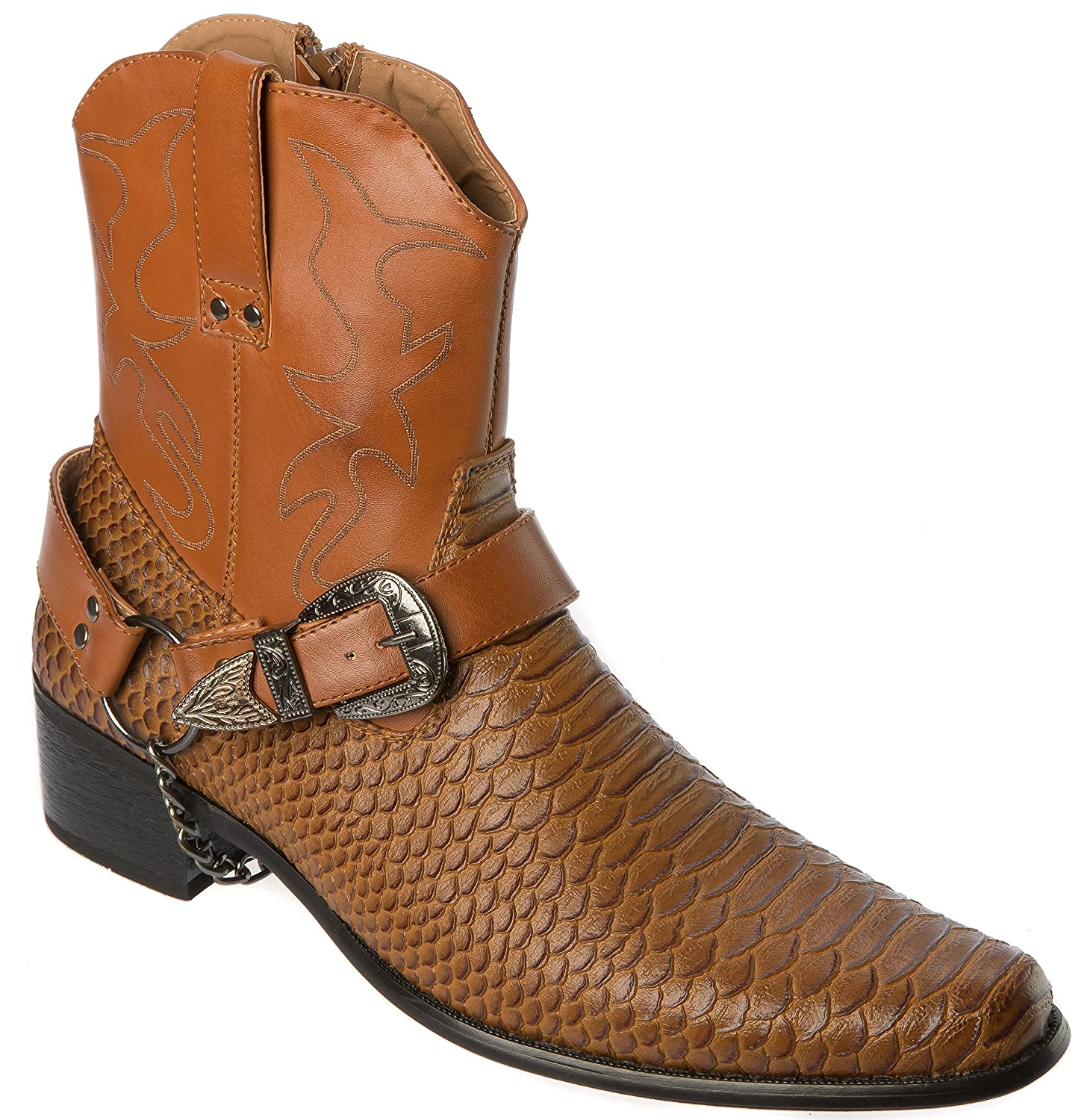 low priced 36295 61392 Alberto Fellini Mens Western-Boots Side Zipper Belt Chain Buckle and Metal  Chain Belt Croc Skin Patten Cowboy Boots B072LQ8TFT Western 695fa9
