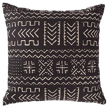 Rivet Mudcloth-Inspired Decorative Throw Pillow, 17  x 17 , Onyx Black