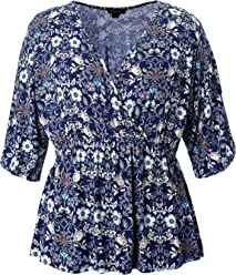 e40425bff8dde Chicwe Women s Plus Size Stretch Kimono Faux Wrap Top - Casual and Work  Blouse