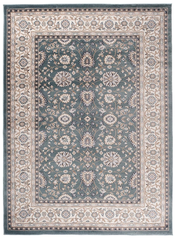 Traditioneller Klassischer Teppich für Ihre Wohnzimmer - Dunkel Grün Creme - Perser Orientalisches Ziegler Nain Muster - Blumen Ornamente - Top Qualität Pflegeleicht