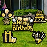 WATINC Set of 5 Happy Birthday Yard Signs with Stakes Black Gold Large Waterproof Lawn Sign Glittery Balloons Cake Gift Box R