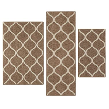 Maples Rugs Kitchen Rug Set - Rebecca [3pc Set] Non Kid Accent Throw Rugs Runner [Made in USA] for Entryway and Bedroom, Café Brown/White