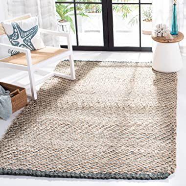 Safavieh Natural Fiber Collection NF454A Hand Woven Blue and Natural Jute Area Rug (6' x 9')