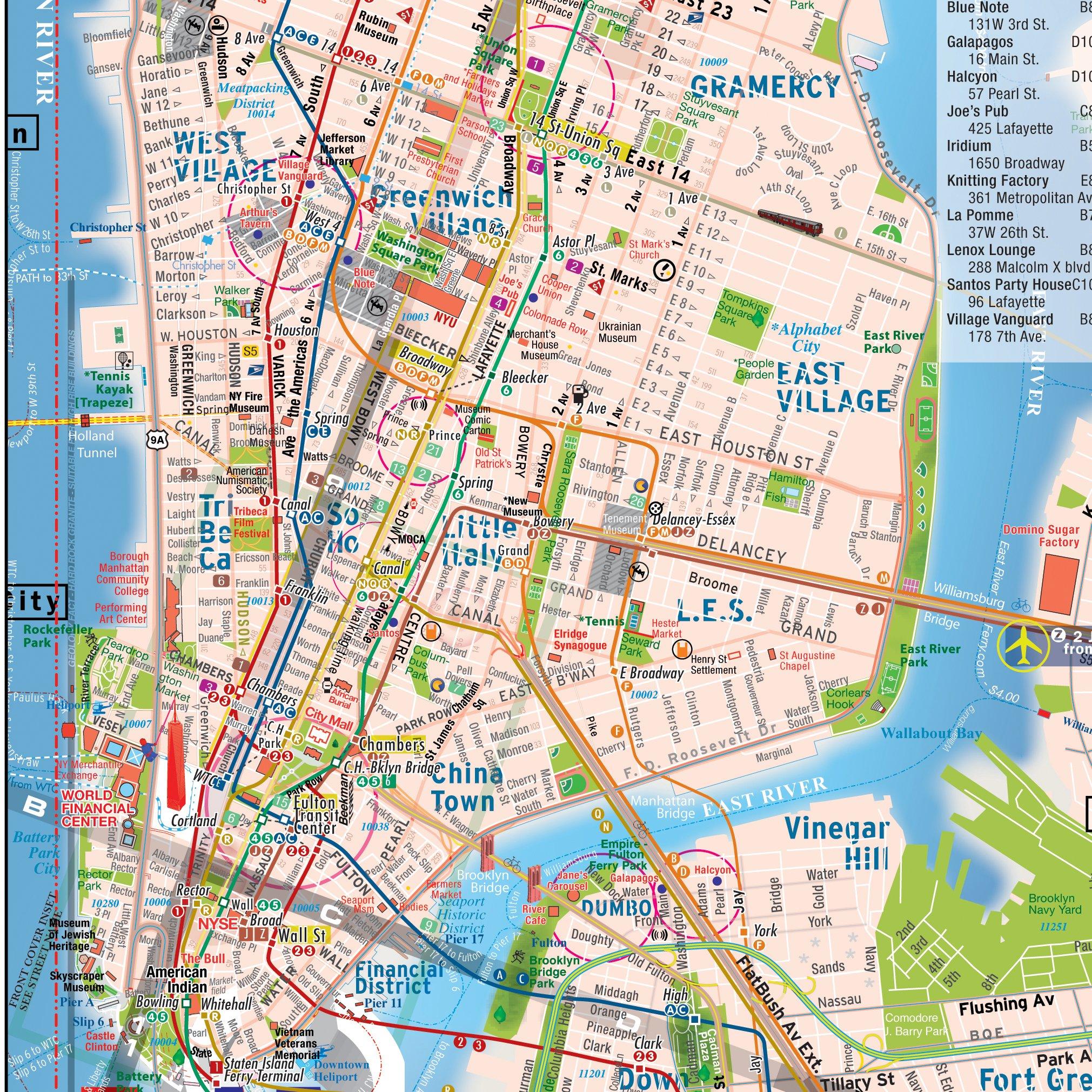 New York Subway Maps With Streets.Terramaps Nyc Manhattan Street And Subway Map Waterproof Pocket Alberto Michieli Alberto Michieli Alberto Michieli 9780983879220 Amazon Com Books