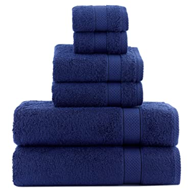 ixirhome Turkish Towel Set 6 Piece,100% Cotton, 2 Bath Towels, 2 Hand Towels and 2 Washcloths, Machine Washable, Hotel Quality, Super Soft and Highly Absorbent (Navy Blue)