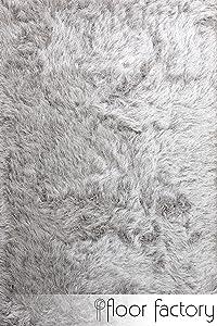 floor factory Tapis Shaggy longues mèches Prestige gris argent 160x230 cm - tapis doux à poils extra longs