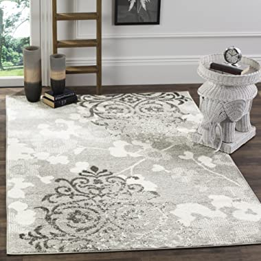 Safavieh Adirondack Collection ADR114B Silver and Ivory Contemporary Chic Damask Area Rug (3' x 5')