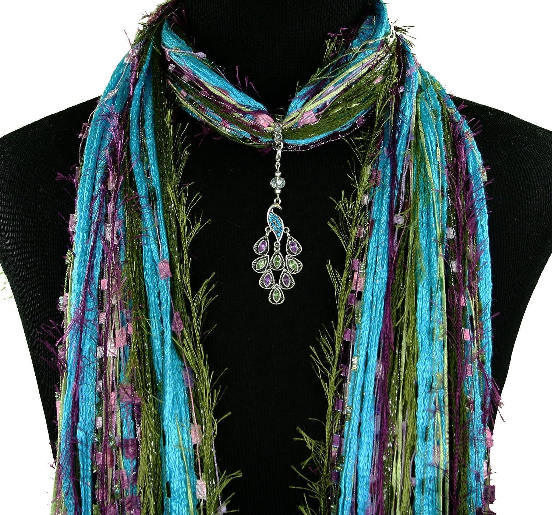 Crystal Asian Peacock Jewelry Necklace Scarf - Turquoise Green Magenta Purple - All Season - Peacock Pendant - Boho Fringe Scarf - Detachable Pendant Option