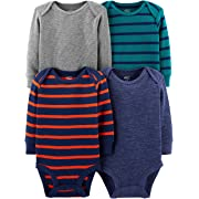 Simple Joys by Carter's Boys' 4-Pack Soft Thermal Long Sleeve Bodysuits, Grey Blue Heather/Stripes, 3-6 Months