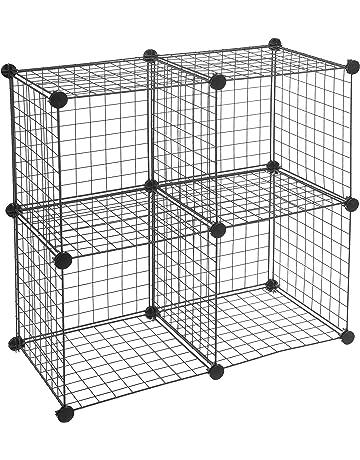 EUGAD 0159XJYJ-2 Petite Armoire de Rangement 4 Cubes de Stockage avec Portes Pratique en Plastique Blanc