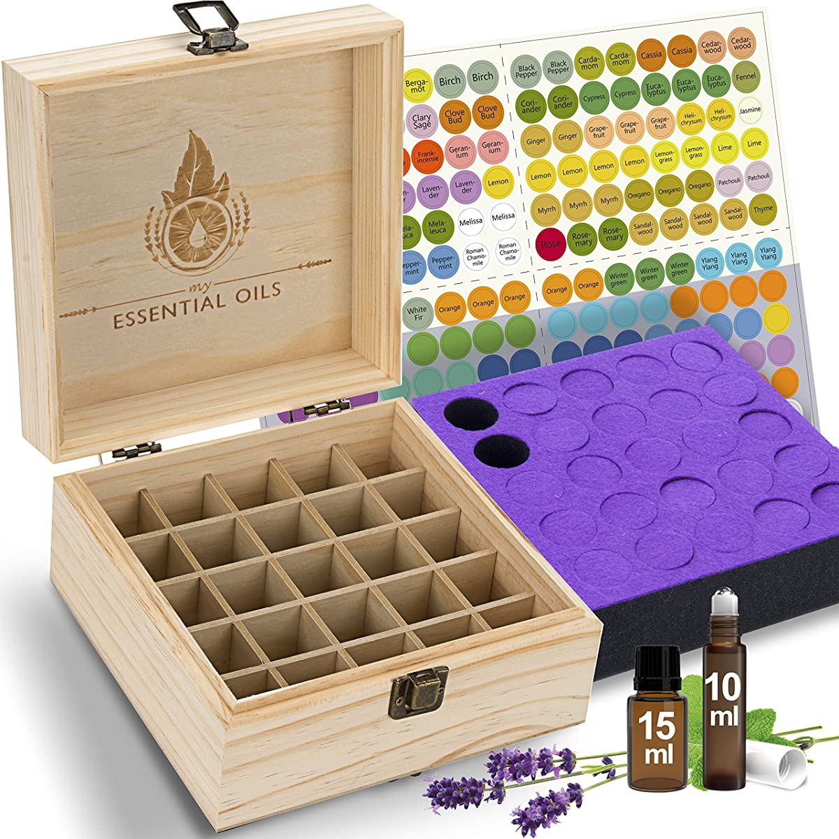 Essential Oil Box Organizer (Holds 25) - Stores Roller Ball Bottles & Other Oils Up To 15mL. Best Starter Wood Storage Case. Thick Foam Insert Secures Oils During Transit. Free EO Labels