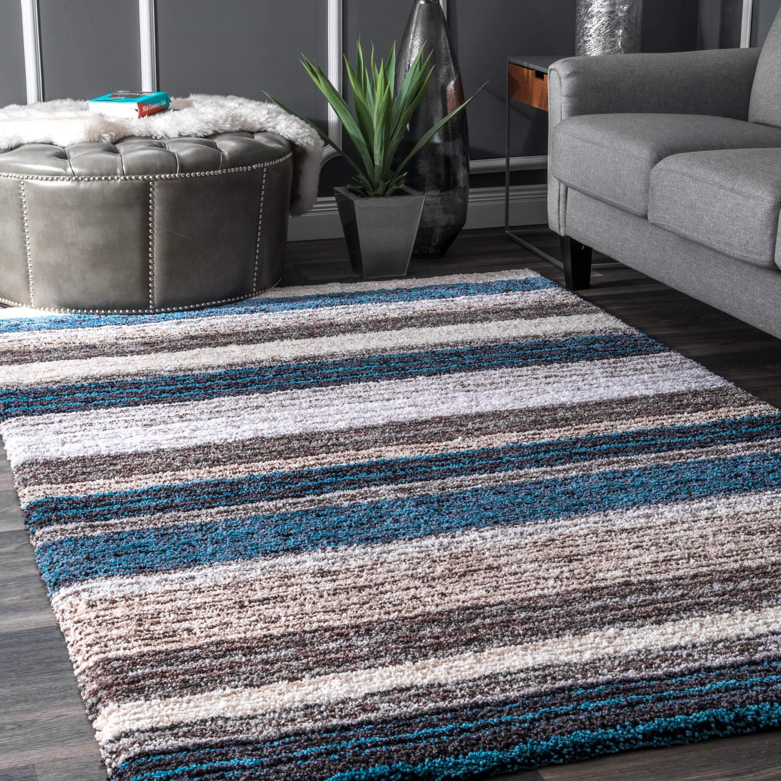 nuLOOM HJZOM1B Classie Hand Tufted Shag Rug, 5' x 8', Blue Multi, Rectangle product image