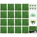 """VegasDoggy 16PCS 20""""x20"""" Artificial Boxwood Grass Backdrop Panels Topiary Hedge Plant, UV Protected Faux Boxwood Privacy Hedg"""