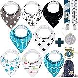 Dodo Babies Baby Bandana Drool Bib Set - 8pc Infant Bibs with 2 Pacifier Clips, Binky Case, Gift-Ready Bag - Soft Absorbent C