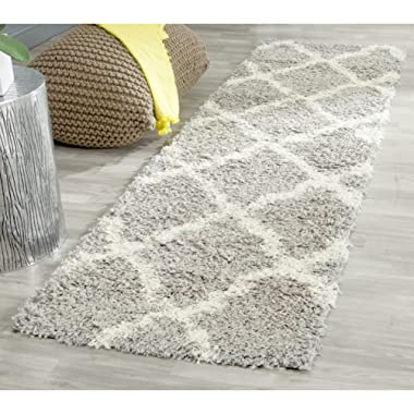 Safavieh Dallas Shag Collection SGD257G Grey and Ivory Runner (2'3  x 8')