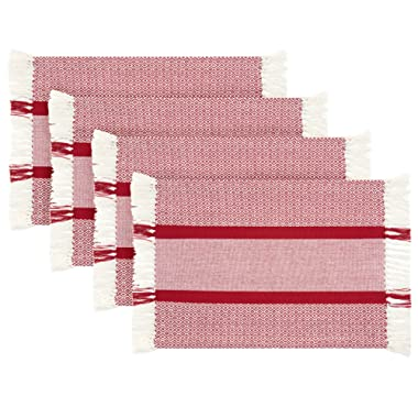 Sticky Toffee Cotton Woven Placemat Set with Fringe, Traditional Diamond, 4 Pack Placemats, Red, 14 in x 19 in