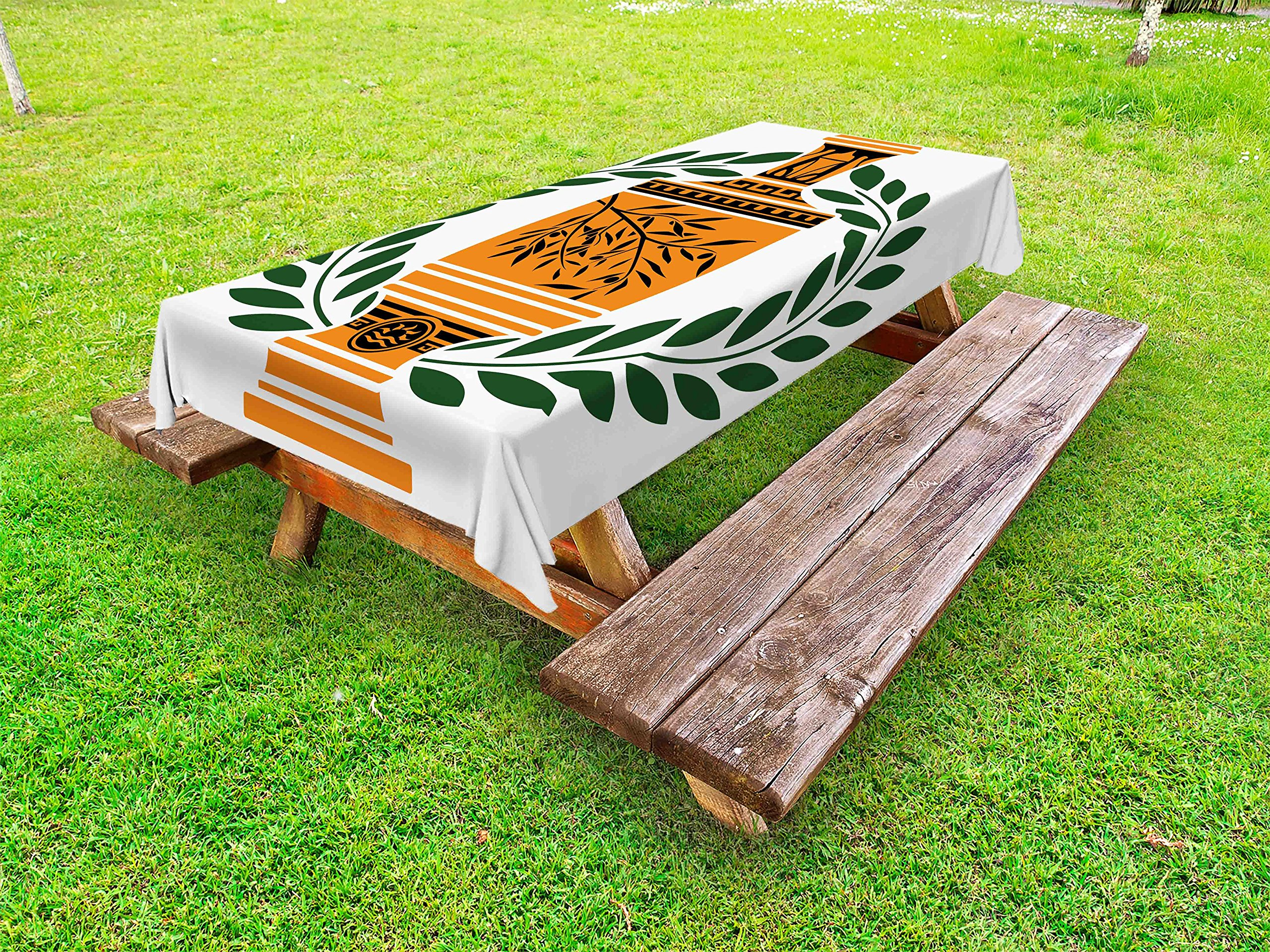Ambesonne Toga Party Outdoor Tablecloth, Old Antique Greek Vase with Olive Branch Motif and Laurel Wreath, Decorative Washable Picnic Table Cloth, 58 X 84 inches, Hunter Green Orange Black