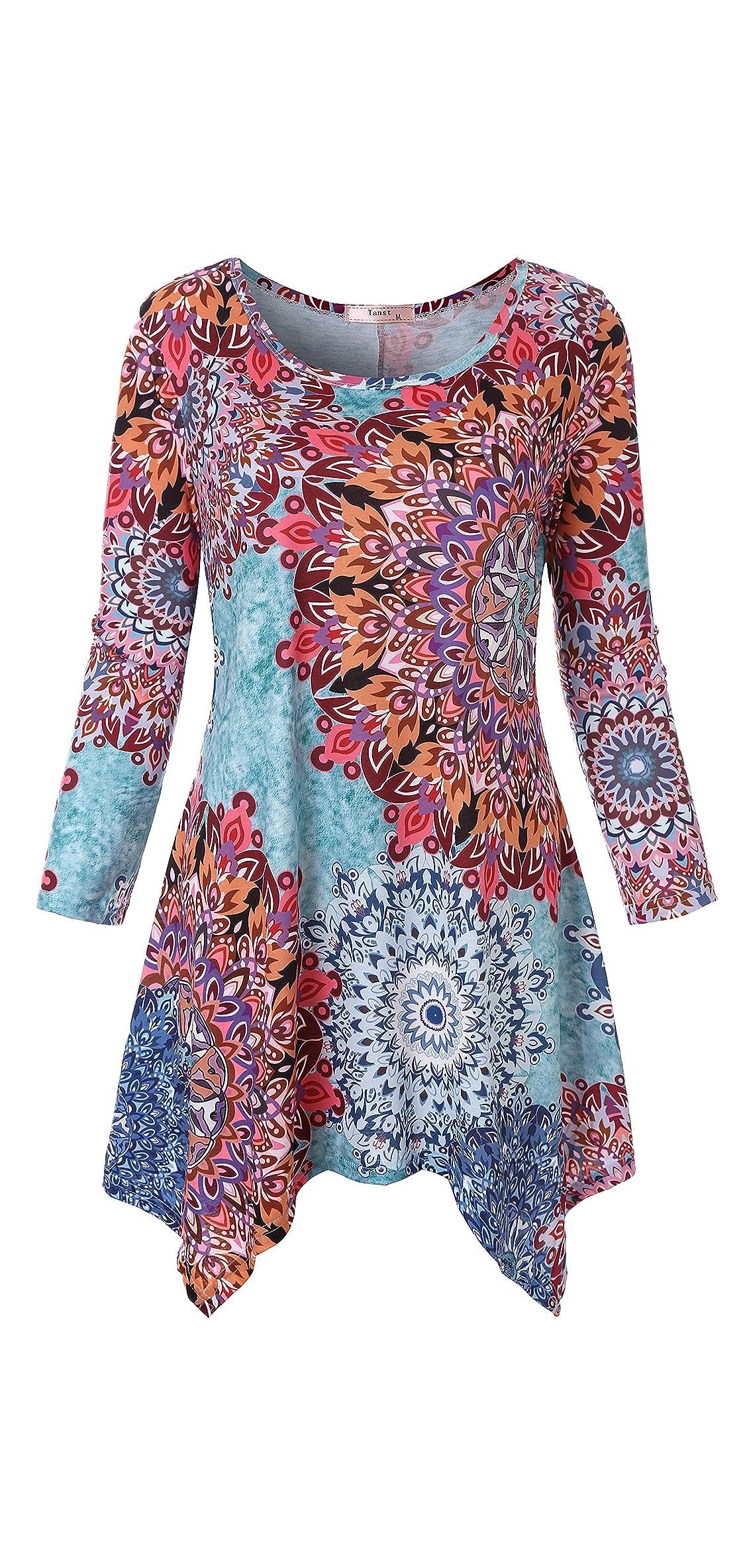 Womens Casual Floral Print / Sleeve Shirt Asymmetrical