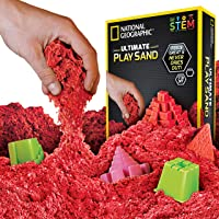 National Geographic Play Sand - 2 LBS of Sand with Castle Molds and Tray (Red)