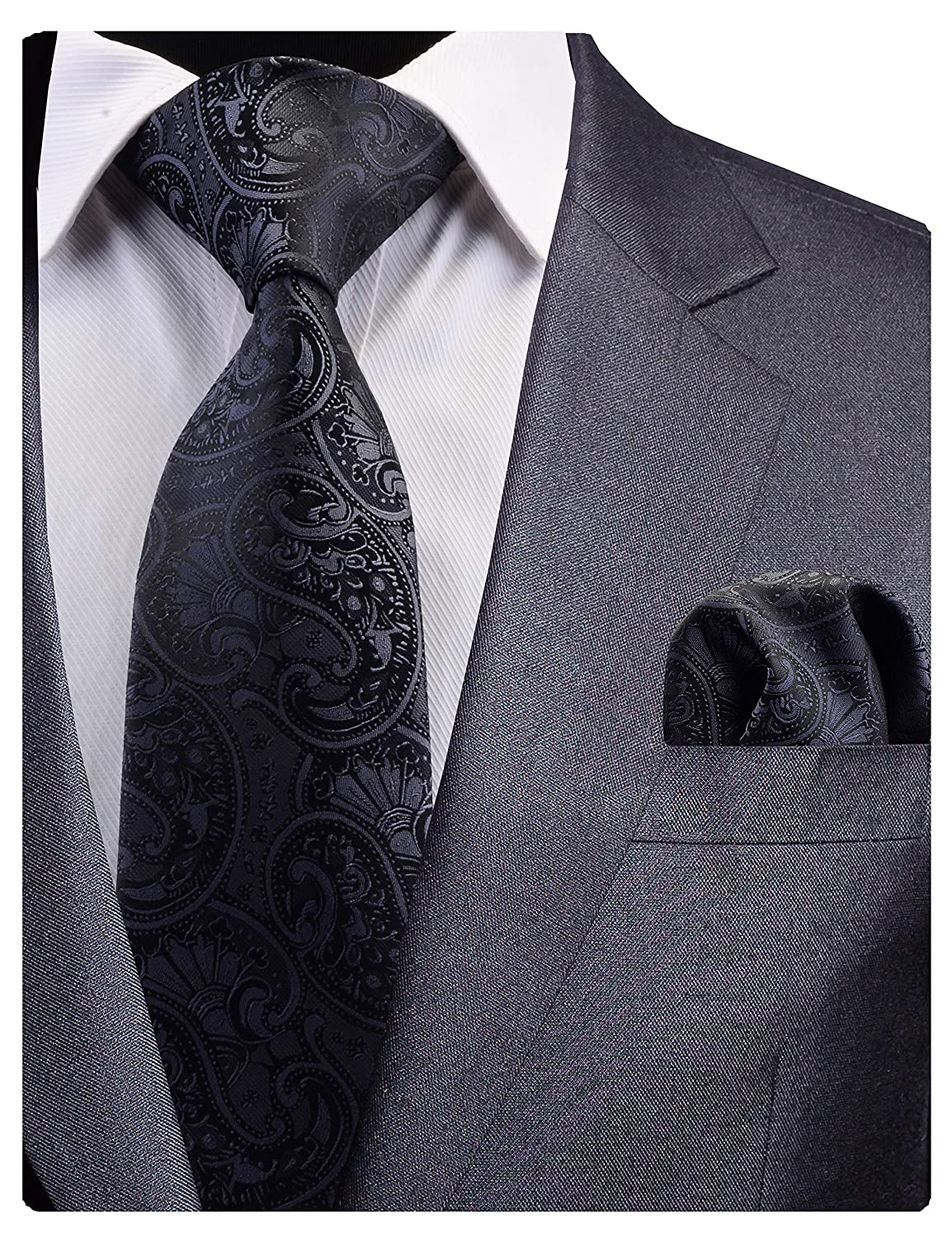 f66dcabeb4dfd GUSLESON New Black Paisley Tie for Men Silk Wedding Necktie and Pocket  Square Set (0783-16) at Amazon Men s Clothing store