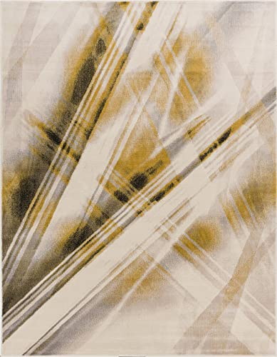 Lighthearted Laia Beige Yellow 9×13 9'3″ x 12'3″ Area Rug Modern Geometric Abtract Lines Stripe