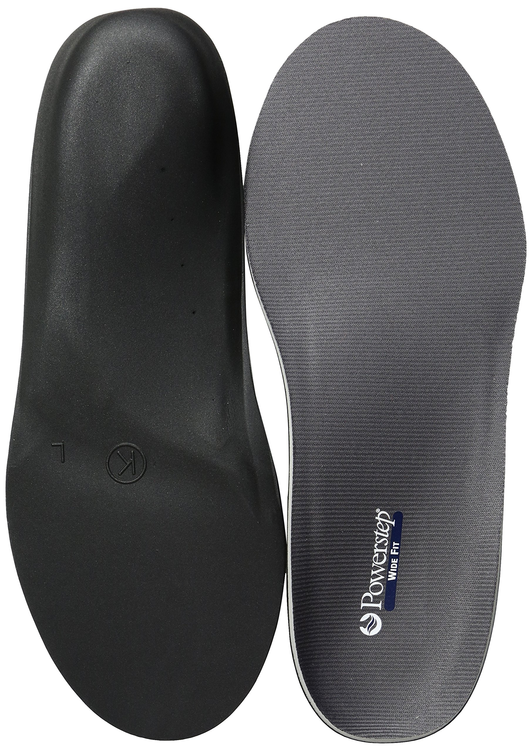 Powerstep Wide Fit Full Shoe Inserts, Gray, 12 6E US