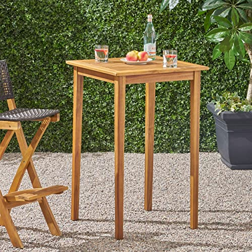 Christopher Knight Home Teresa Outdoor Minimalist Acacia Wood Square Bar Table Teak Finish