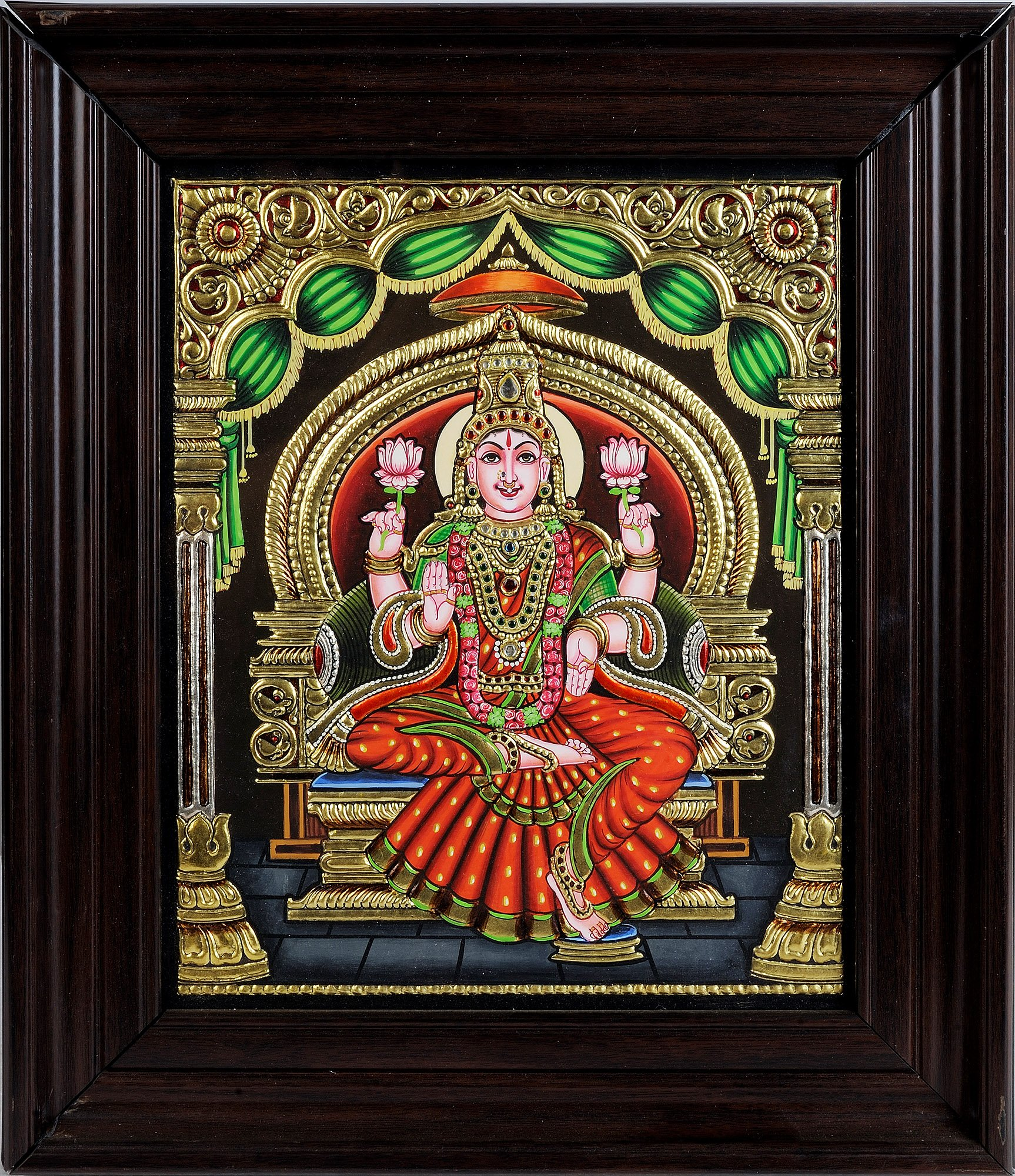 Goddess Lakshmi (Framed) - Tanjore Painting - Traditional Colors with 24 Karat Gold
