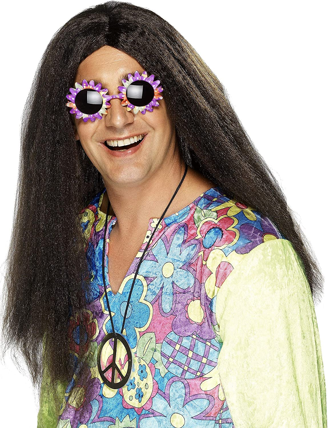 MEDALLION Adult Fancy Dress SPECS Mens 60s 70s Groovy Hippie COSTUME WIG