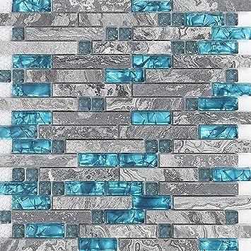 Hominter 5 Sheets Gray Marble Backsplash Wall Tiles Teal Blue Glass Bathroom Shower Tile Random Interlocking Patterns Mosaic For Kitchen 9805 Amazon Com