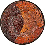 Up Words by Pavilion Rootbeer Color Mosaic Glass Candle Plate, 8-Inch