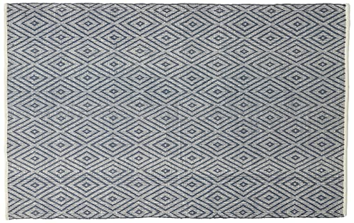 Safavieh Montauk Collection MTK811C Handmade Flatweave Navy and Ivory Cotton Area Rug 5 x 8