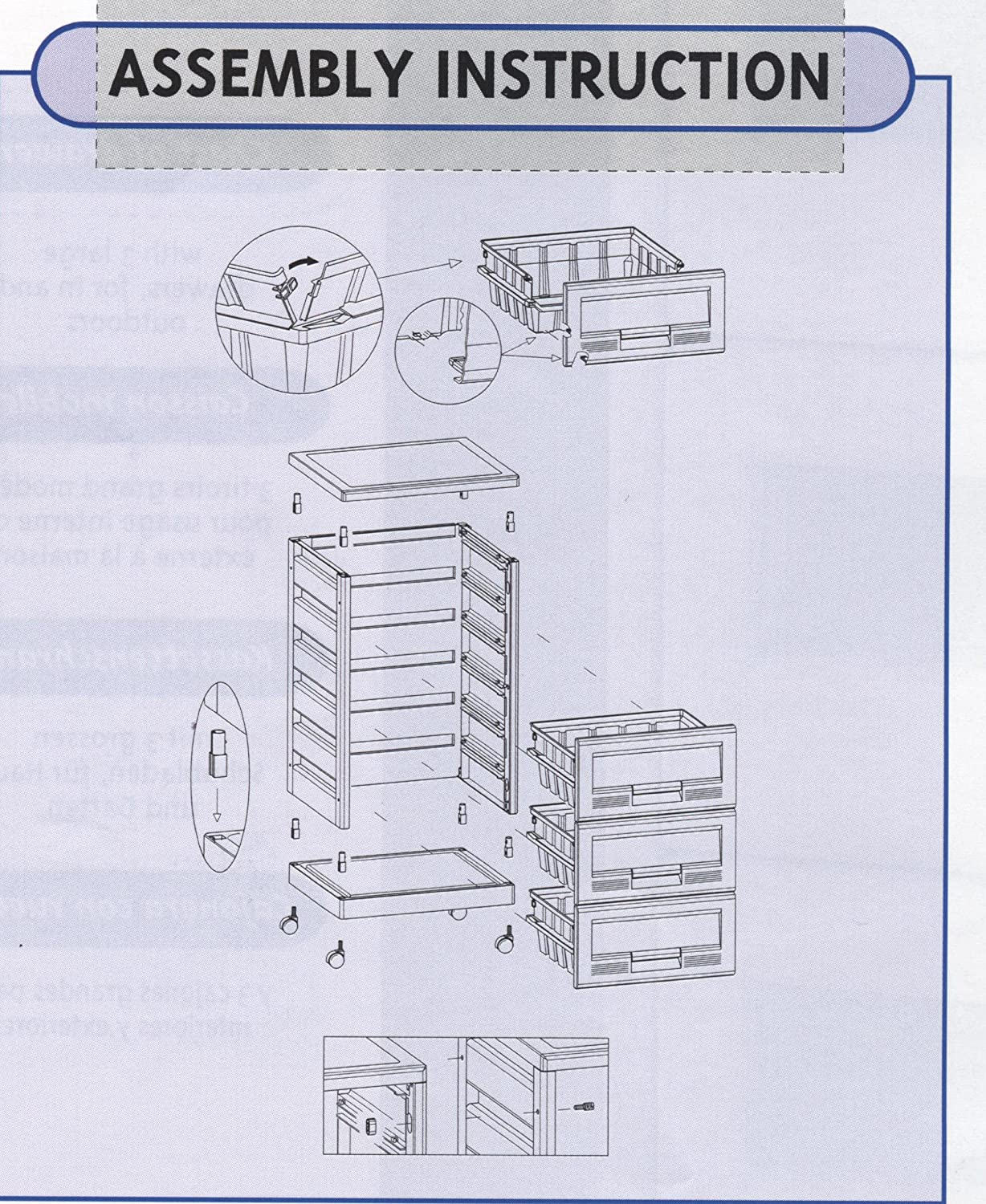 Amazon.com: 3 Drawer Storage And Organization Cabinet Or Cart, See Through  Drawers, Casters, Stackable, White: Home U0026 Kitchen