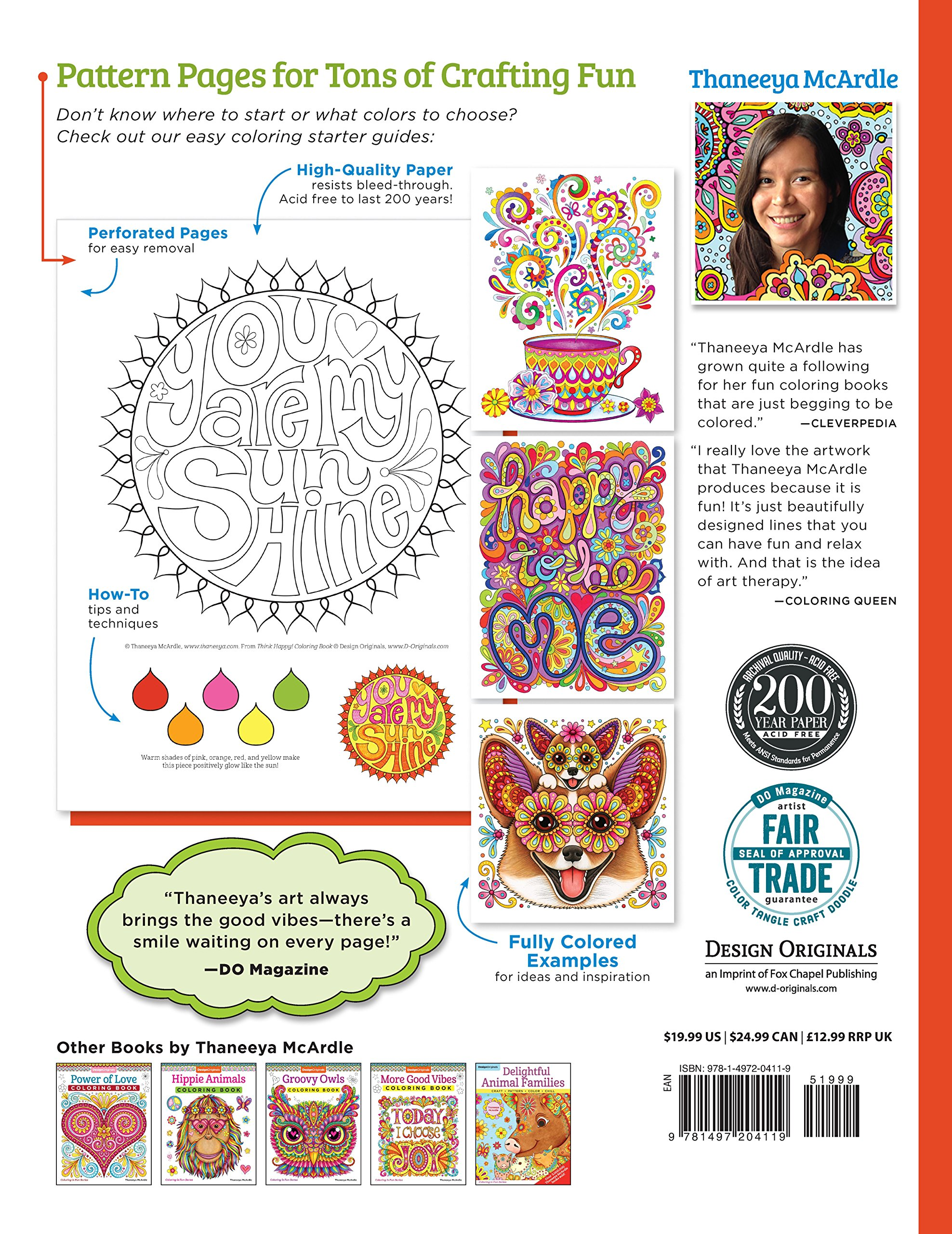 Think Happy! Coloring Book: Craft, Pattern, Color, Chill: Thaneeya McArdle:  9781497204119: Books - Amazon.ca