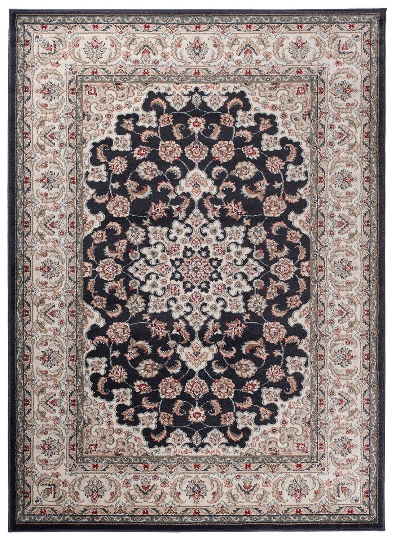 Carpeto Klassischer Orientalisch Teppich Klassik Ornamente in Anthrazit Schwarz - Sehr Dicht Gewebt HOCHWERTIG (300 x 400 cm)