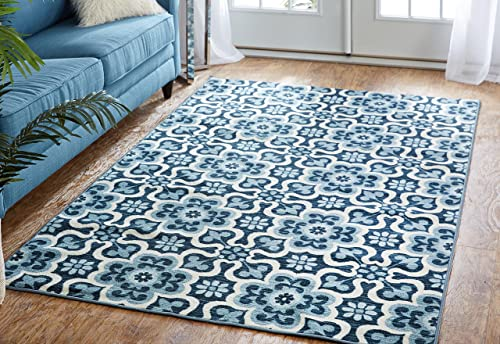 Mohawk Home Soho Marjorelle Gardens Floral Printed Area Rug, 5 x8 , Blue
