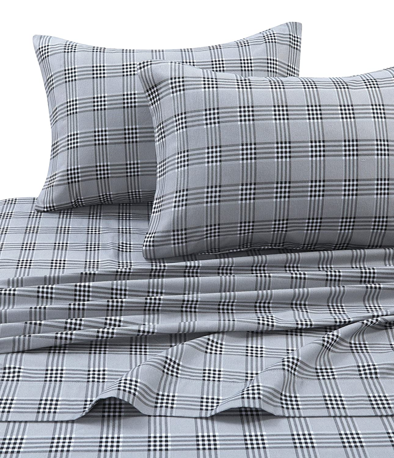 Tribeca Living SAVA170SHEETQU Savannah Plaid Flannel Deep Pocket Sheet Set, Queen, Multi