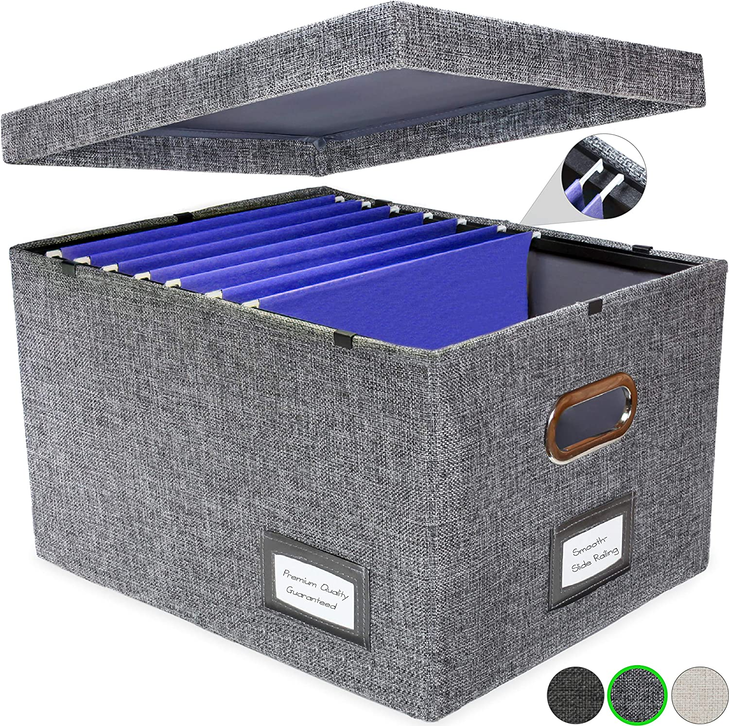 New and Improved Collapsible Hanging File Storage Organizer with Smooth Sliding Rail | Office Hanging File Box Storing Solution| Fits Letter/Legal | 1 Pack (Light Charcoal Grey)