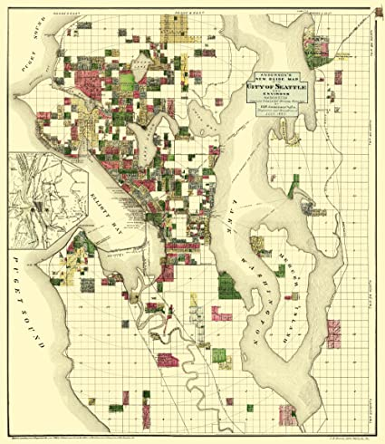 Amazon Com Old City Map Seattle Washington Everts 1890 23 X