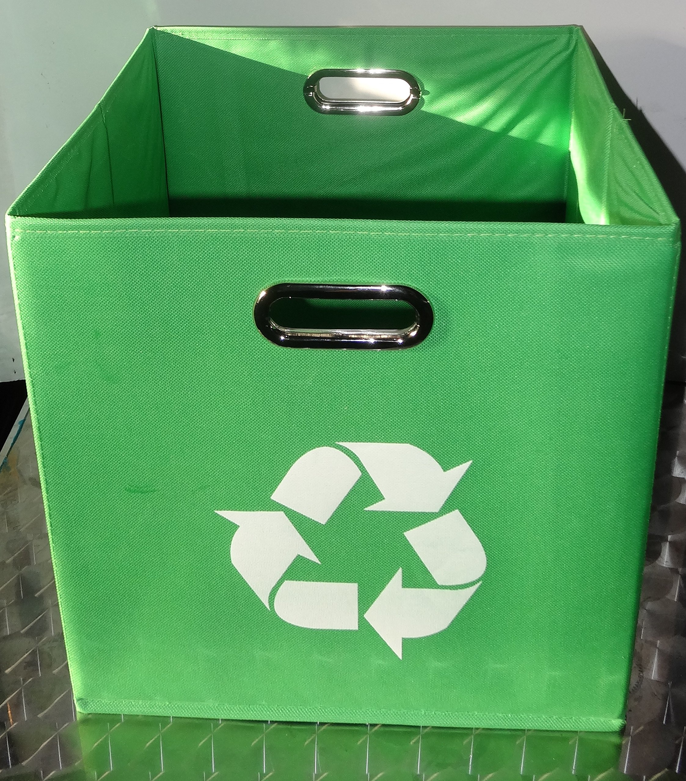 Alexi Ricci Green Folding Designer Recycle Bin 13x13 x 13 inch by ideal for recycling of Newspapers - Magazines office papers Great for Office- Under Kitchen Sink - Dorm Room - Under Desk-
