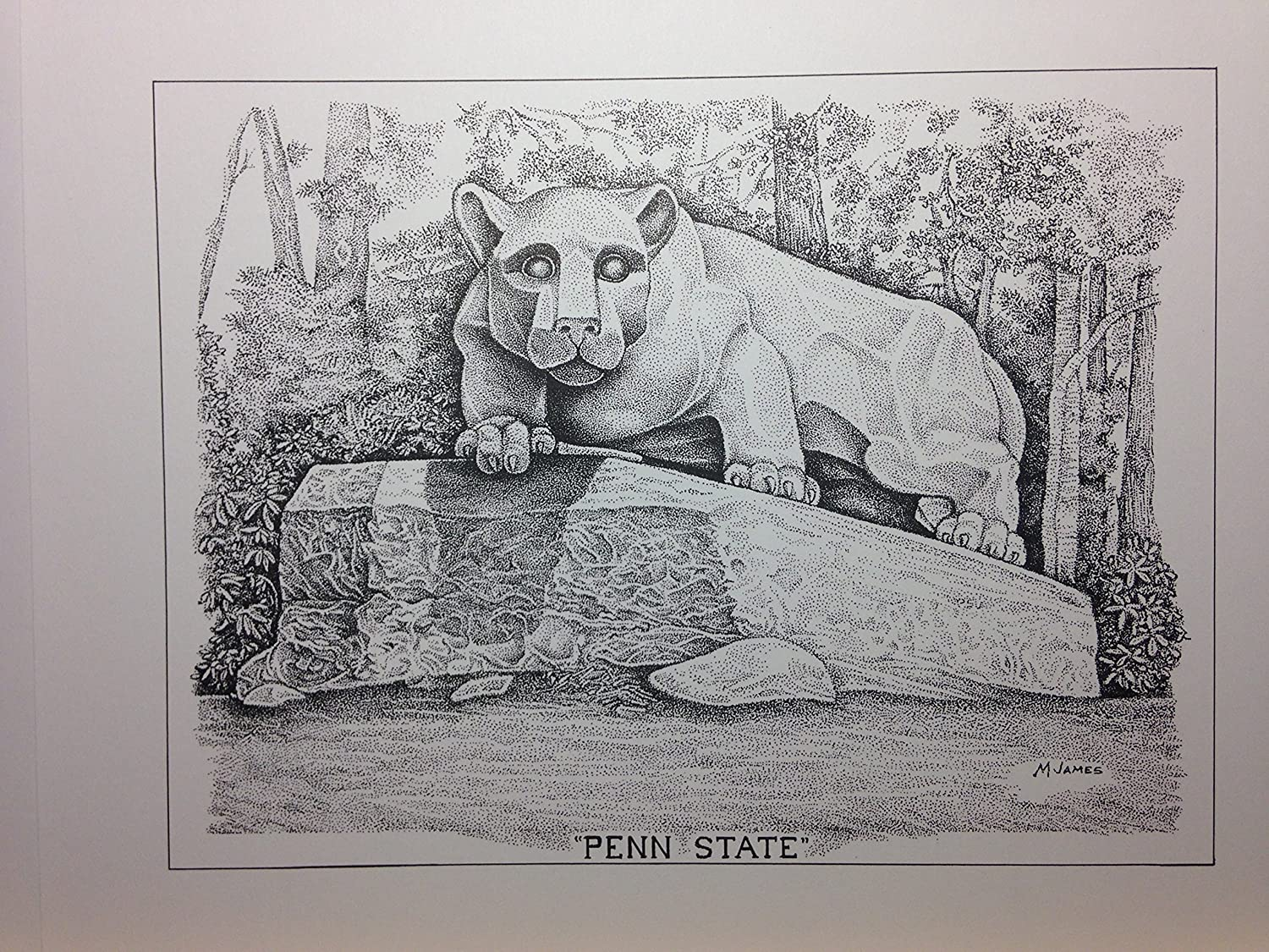 Penn State - Lion Statue 8'x10' pen and ink print