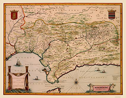 Amazon.com: Old Iberian Peninsula Map - Andalusia, Spain - Blaeu ...