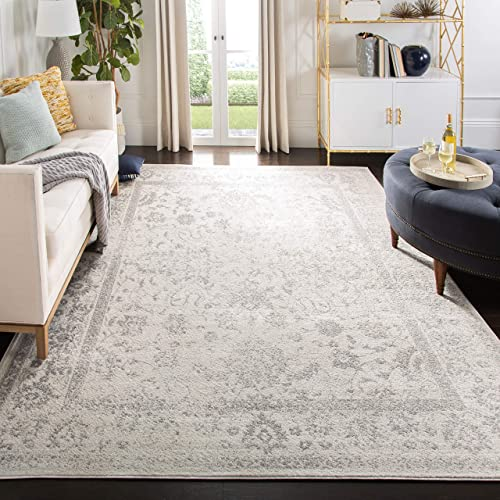 Safavieh Adirondack Collection ADR109C Ivory and Silver Oriental Vintage Distressed Area Rug 8 x 10