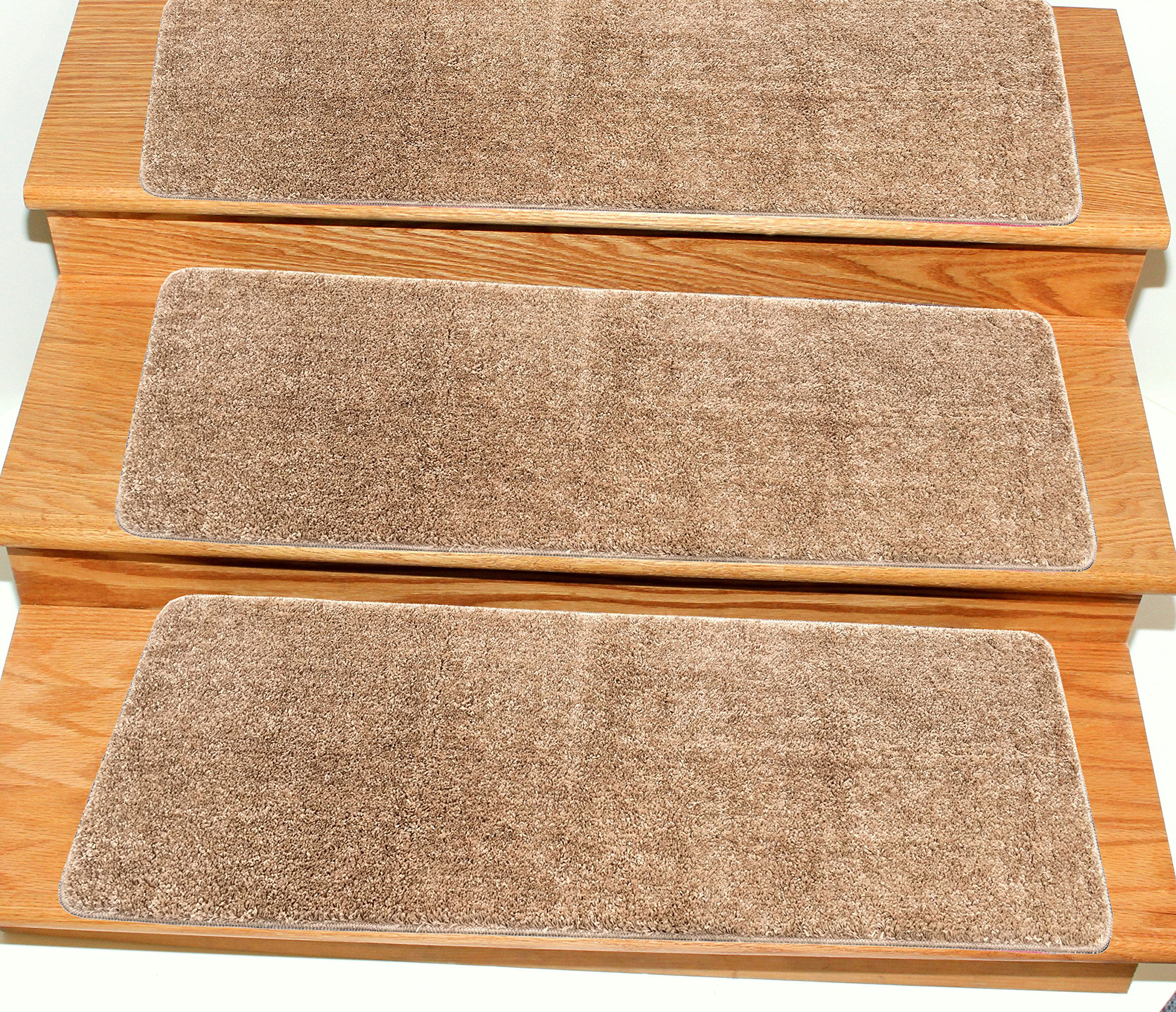Ottomanson CST6001-14Pack Comfort Collection Soft Solid (Non-Slip) Shag Carpet Stair Treads, 9'' x 26'', Camel