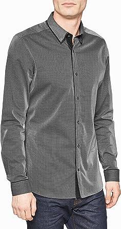 next Hombre Camisa Casual Cuello Doble Elegante Manga Larga Puño Simple De Algodón: Amazon.es: Ropa y accesorios