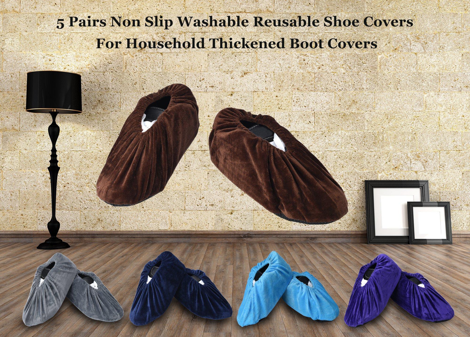 5 Pairs Non Slip Washable Reusable Shoe Covers For Household Thickened Boot Covers by PlasMaller (Image #8)